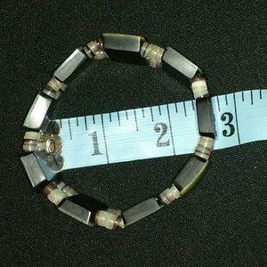 Jewelry - Beautiful Stretchy Abalone Shell & Stone Bracelet
